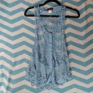 Baby Blue Lace Top with Pearl Buttons
